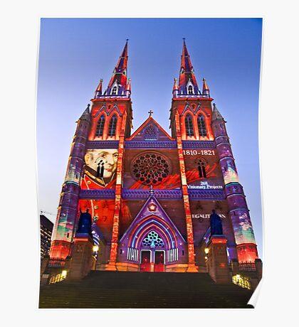St Marys Cathedral (Governor Macquarie) - Vivid Festival - Sydney - Australia Poster