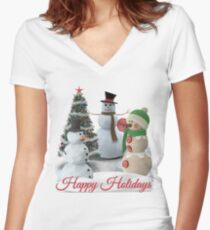 SnowPals Happy Holidays Women's Fitted V-Neck T-Shirt