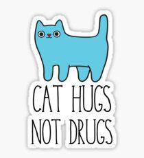 Cat Hugs, Not Drugs Sticker