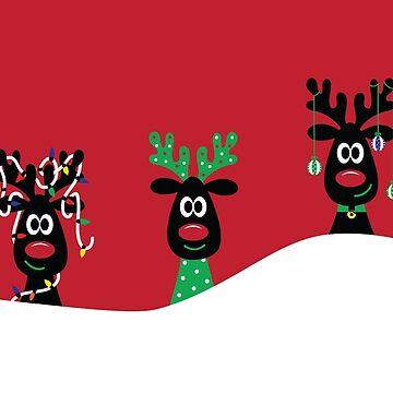 Santa's Three Favorite Reindeer by skldesign