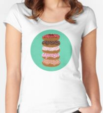 Donuts Stacked on Mint Women's Fitted Scoop T-Shirt