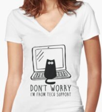 I'm from tech support Women's Fitted V-Neck T-Shirt