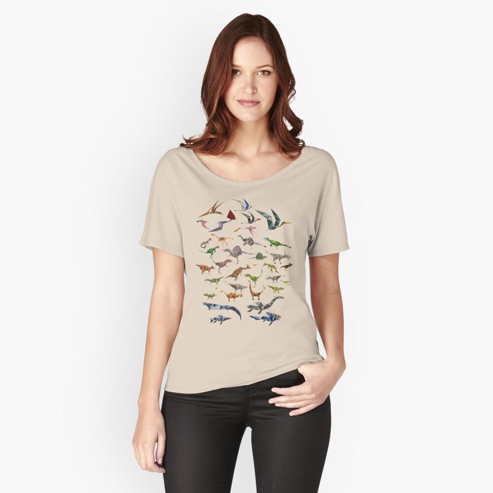 Farbige Dinosaurier-Karte Loose Fit T-Shirt
