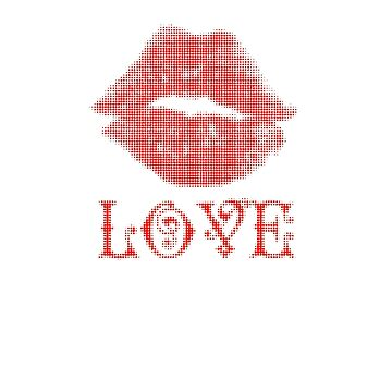 red lips with love written under them by JudyBJ