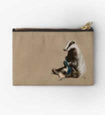 Badger Knitting a Scarf Studio Pouch