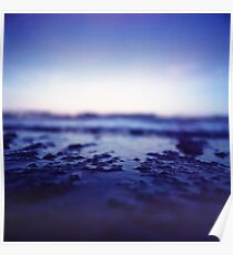 Coastal shoreline at low tide in blue Hasselblad medium format film analogue photography Poster