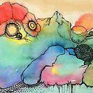 Trippy Landschaft der abstrakten Mohnblume - Aquarell von artbyvourneen