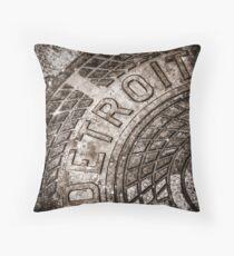 Detroit Manhole Cover Throw Pillow