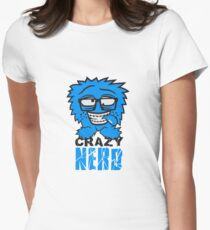 logo nerd geek schlau hornbrille zahnspange freak pickel haarig monster wuschelig verrückt lustig comic cartoon zottelig crazy cool gesicht  Womens Fitted T-Shirt