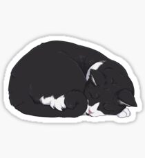 Tuxedo Cat Art - Grey Background / black and white socks sleeping curled up ball snooze nap cozy kitty meow lolcat Sticker