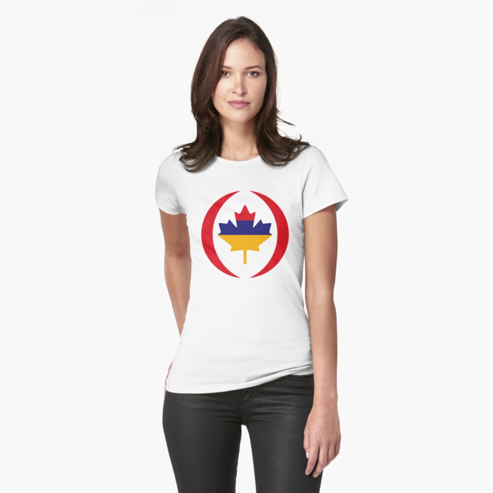 Armenian Canadian Multinational Patriot Flag Series Fitted T-Shirt