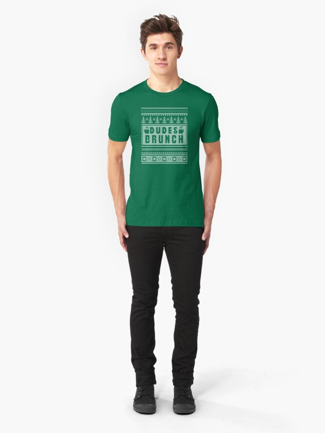 """Alternate view of Dudes Brunch """"Ugly"""" Christmas Sweater 2! Slim Fit T-Shirt"""