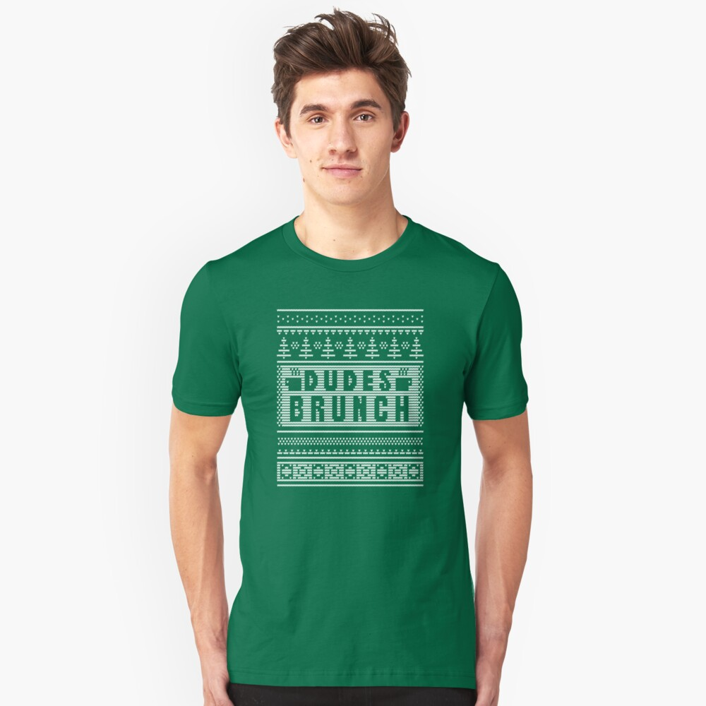 """Dudes Brunch """"Ugly"""" Christmas Sweater 2! Slim Fit T-Shirt"""
