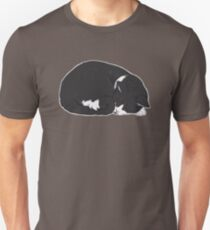 Tuxedo Cat Art - Grey Background / black and white socks sleeping curled up ball snooze nap cozy kitty meow lolcat Unisex T-Shirt