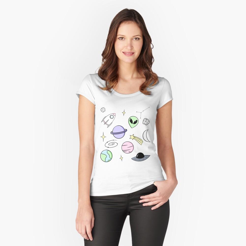 Raum ästhetisch Tailliertes Rundhals-Shirt