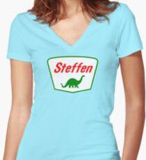 Steffen The Dinosaur, Clifford Movie Women's Fitted V-Neck T-Shirt