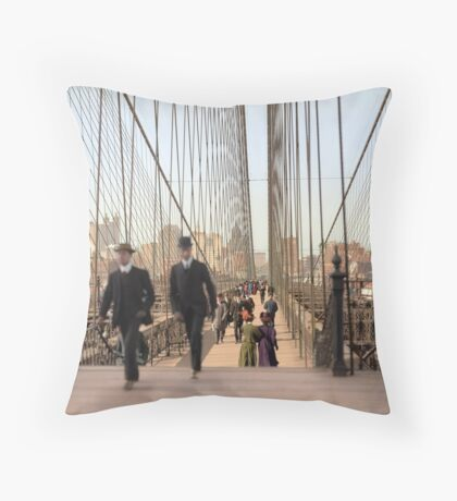Brooklyn Bridge, New York, 1905 — Colorized Throw Pillow