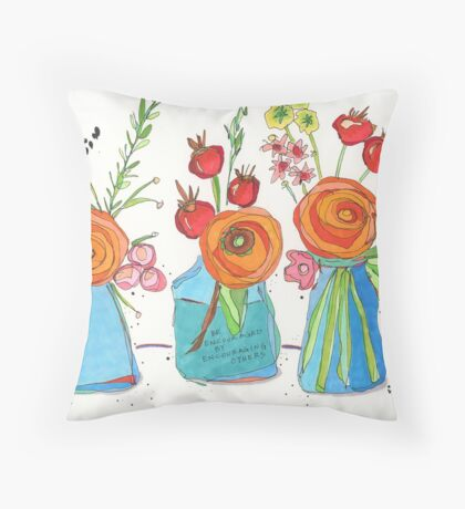 Encouraging Flowers Throw Pillow