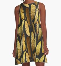 - Golden feathers - A-Line Dress