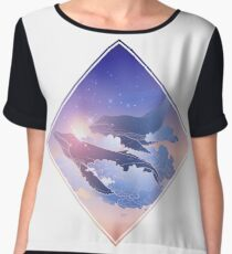 Graphic whales flying in the nigh sky Women's Chiffon Top