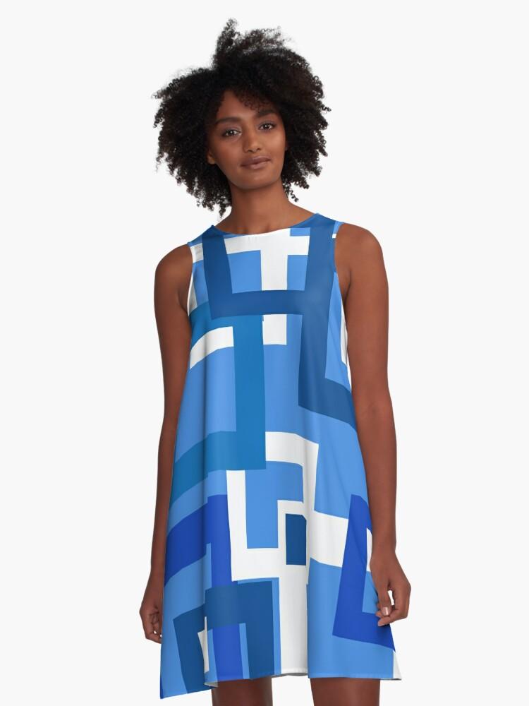 Blue Squares Too A-Line Dress Front