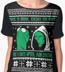 Funny Kermit Ugly Christmas Sweater Women's Chiffon Top