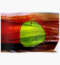 Green apple on red background Poster