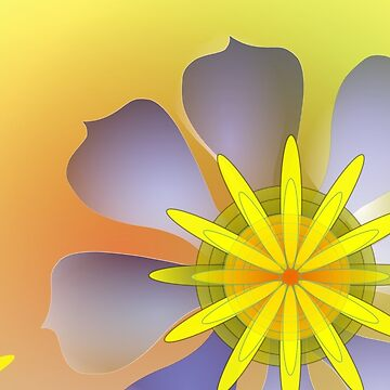 Purple, Yellow, and Sunny Orange exotic flowers by abigailryder