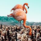 Flamingos In The Desert #redbubble #artprints by Uma Gokhale