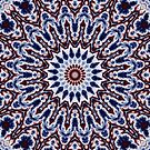 Mandala Fractal in Red White and Blue 03 by charmarose