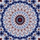 Mandala Fractal in Red White and Blue 01 by charmarose