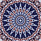 Mandala Fractal in Red White and Blue 02 by charmarose