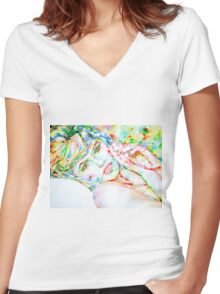 WATERCOLOR LADY Women's Fitted V-Neck T-Shirt
