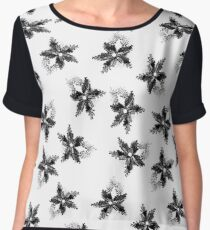Black and white beaded floral print Chiffon Top