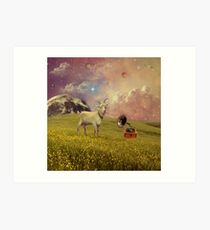 Transdimensional Space Goat Art Print