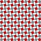 Rhomboids Pattern red and grey white by Cveta