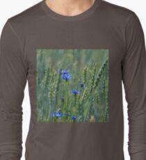 Cornflowers in a wheat field Long Sleeve T-Shirt