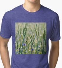 Cornflowers in a wheat field Tri-blend T-Shirt