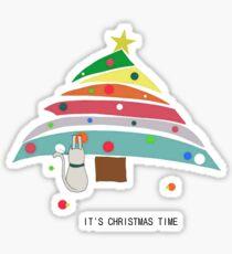 christmas time cat christmas tree decorating female t shirt gift  Sticker