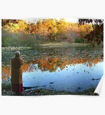 Fall Scenics over the Lake, Garrett Mountain Reservation, Woodland Park, Passaic County NJ Poster