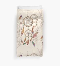 Bohemian dream catcher with beads and feathers Duvet Cover