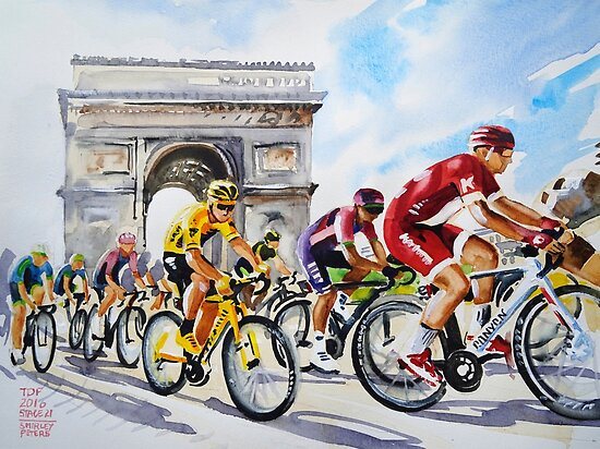 Froome in Yellow TDf 2016 Stage 21 by Shirley Peters