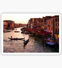 Impressions Of Venice - Warm Dusk and Gondolas on the Grand Canal  Sticker