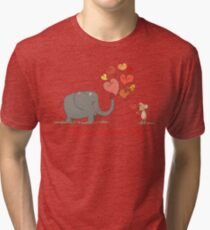 Elephant and Mouse Story of Love Valentine 2017 T-Shirt Tri-blend T-Shirt