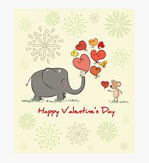 Elephant and Mouse Story of Love Valentine 2017 T-Shirt Photographic Print