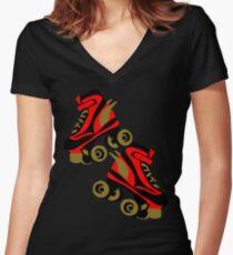 Cool golden roller skates Roller Derby Women's Fitted V-Neck T-Shirt