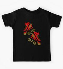 Cool golden roller skates Roller Derby Kids Tee