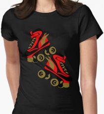 Cool golden roller skates Roller Derby Women's Fitted T-Shirt