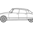 Citroen DS21 Pallas line drawing artwork by RJWautographics