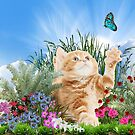 Ginger kitty playing with a butterfly by NadineMay
